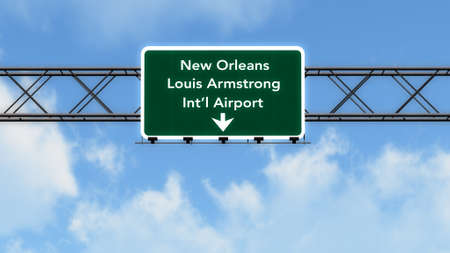 New Orleans USA Airport Highway Sign 3D Illustration Stock Photo