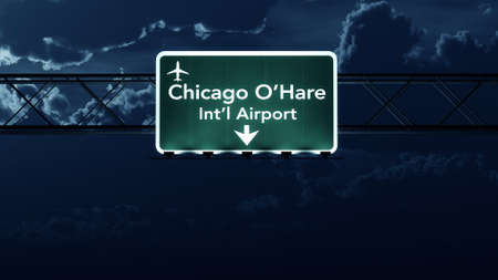 Chicago Ohare USA Airport Highway Sign at Night 3D Illustration Stock Illustration - 44717655