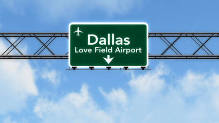 highway love: Dallas Love Field USA Airport Highway Sign 3D Illustration