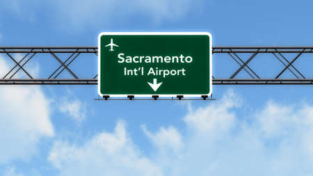 sacramento: Sacramento USA Airport Highway Sign 3D Illustration Stock Photo