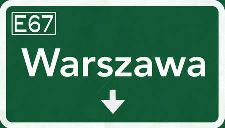 warsaw: Warsaw Poland Highway Sign 2D Illustration Stock Photo