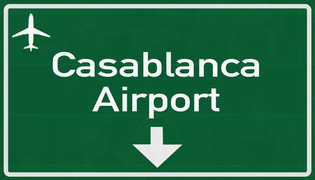 2d: Morocco Casablanca Airport Highway Sign 2D Illustration
