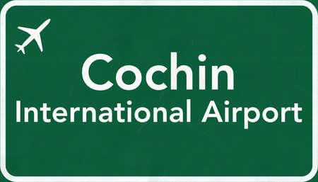 kochi: Kochi India Airport Highway Sign 2D Illustration
