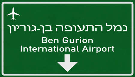 tel: Tel Aviv Israel Airport Highway Sign 2D Illustration
