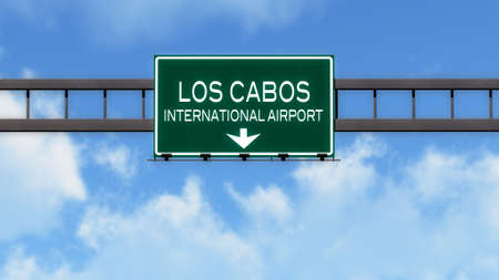 los cabos: Los Cabos Mexico Airport Highway Road Sign 3D Illustration