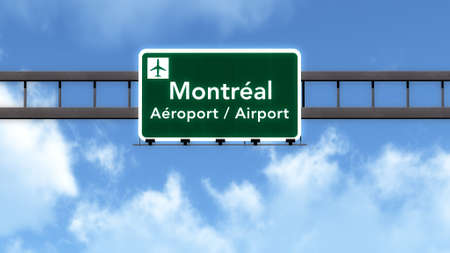 montreal: Montreal Canada Airport Highway Road Sign 3D Illustration