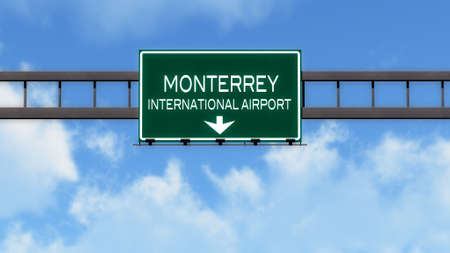 mariano: Monterrey Mexico Airport Highway Road Sign 3D Illustration