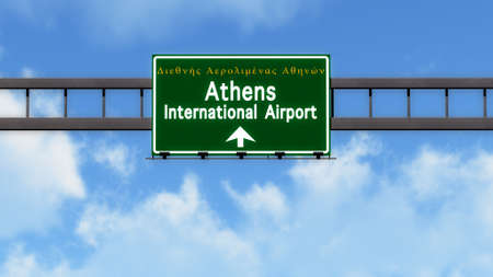 athens: Athens Greece Airport Highway Road Sign 3D Illustration