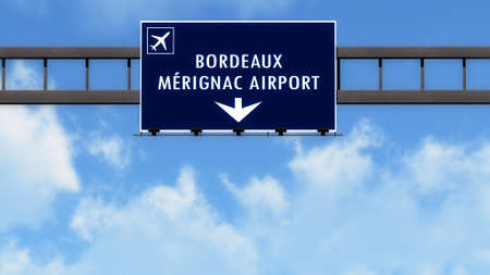 bordeaux: Bordeaux France Airport Highway Road Sign 3D Illustration