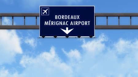 bordeaux: Bordeaux France Airport Highway Road Sign 3D Illustration