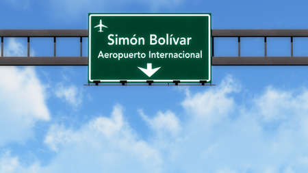 caracas: Caracas Venezuela Airport Highway Road Sign 3D Illustration