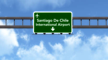 santiago: Santiago Chile Airport Highway Road Sign 3D Illustration