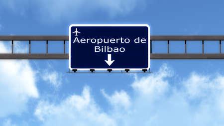 bilbao: Bilbao Spain Airport Highway Road Sign 3D Illustration Stock Photo