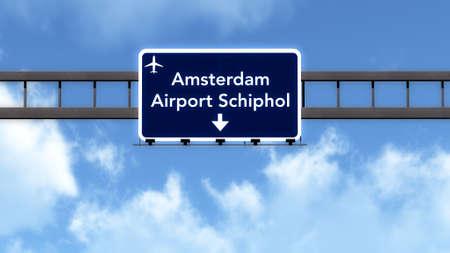 Amsterdam Schiphol Netherlands Airport Highway Road Sign 3D Illustration