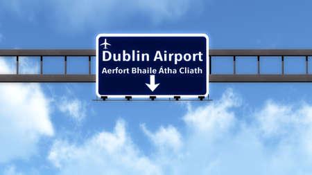 ireland cities: Dubln Ireland Airport Highway Road Sign 3D Illustration