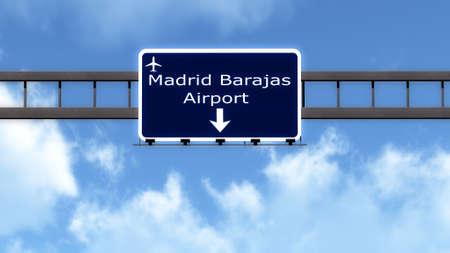 barajas: Madrid Barajas Spain Airport Highway Road Sign 3D Illustration Stock Photo