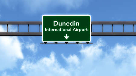 new direction: Dunedin New Zealand Airport Highway Road Sign 3D Illustration Stock Photo