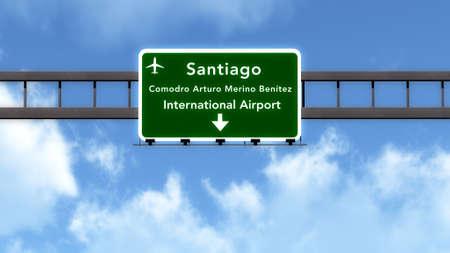 santiago: Santiago Chile Airport Highway Road Sign 3D Illustration