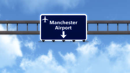 manchester: Manchester England United Kingdom Airport Highway Road Sign 3D Illustration Stock Photo