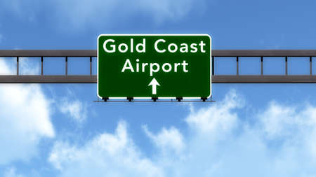 gold road: Gold Coast Australia Airport Highway Road Sign 3D Illustration