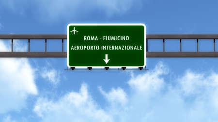 leonardo da vinci: Rome Fiumicino Leonardo Da Vinci Italy Airport Highway Road Sign 3D Illustration