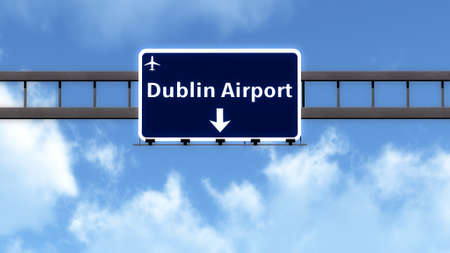 irish cities: Dubln Ireland Airport Highway Road Sign 3D Illustration