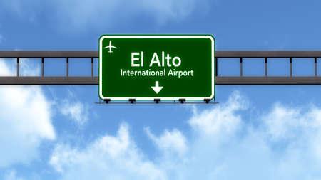 la: La Paz Bolivia Airport Highway Road Sign 3D Illustration Stock Photo