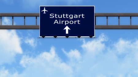 stuttgart: Stuttgart Germany Airport Highway Road Sign 3D Illustration