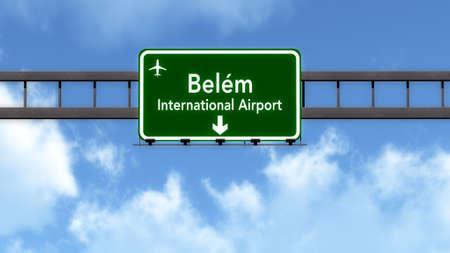 belem: Belem Brazil Airport Highway Road Sign 3D Illustration