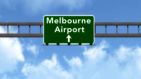 melbourne: Melbourne Australia Airport Highway Road Sign 3D Illustration Stock Photo