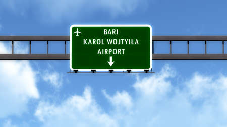 italy street: Bari Italy Airport Highway Road Sign 3D Illustration Stock Photo