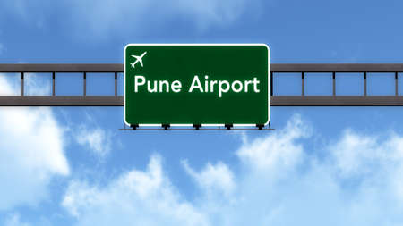 pune: Pune India Airport Highway Road Sign 3D Illustration Stock Photo