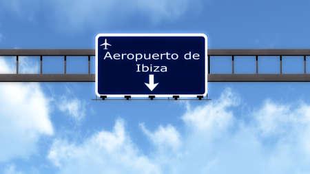 ibiza: Ibiza Spain Airport Highway Road Sign 3D Illustration