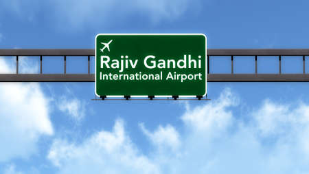 hyderabad: Hyderabad India Airport Highway Road Sign 3D Illustration Stock Photo