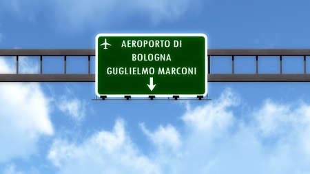 italy street: Bologna Italy Airport Highway Road Sign 3D Illustration Stock Photo
