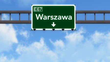 warsaw: Warsaw Poland Highway Road Sign 3D Illustration