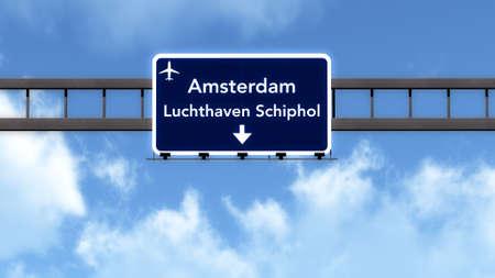 schiphol: Amsterdam Schiphol Netherlands Airport Highway Road Sign 3D Illustration Stock Photo