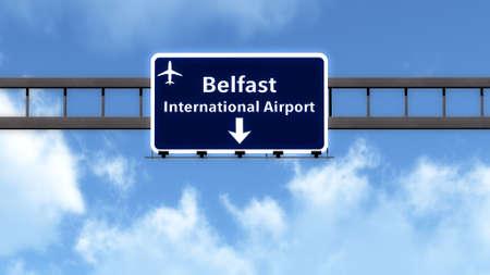 ireland cities: Belfast Northern Ireland Airport Highway Road Sign 3D Illustration