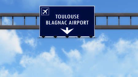 toulouse: Toulouse France Airport Highway Road Sign 3D Illustration