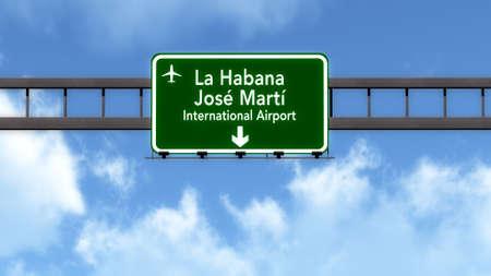 havana: Havana Cuba Airport Highway Road Sign 3D Illustration