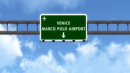 venezia: Venezia Italy Airport Highway Road Sign 3D Illustration Stock Photo