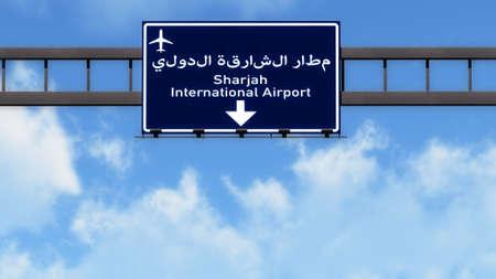 sharjah: Sharjah UAE Airport Highway Road Sign 3D Illustration Stock Photo