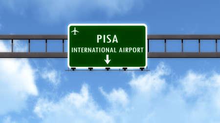 pisa: Pisa Italy Airport Highway Road Sign 3D Illustration Stock Photo