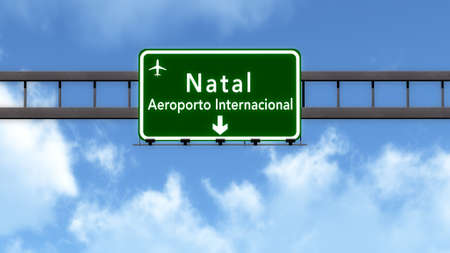 natal: Natal Brazil Airport Highway Road Sign 3D Illustration