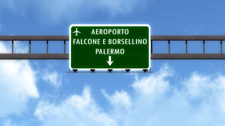 palermo   italy: Palermo Italy Airport Highway Road Sign 3D Illustration