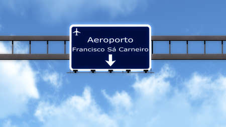 portugese: Porto Portugal Airport Highway Road Sign 3D Illustration