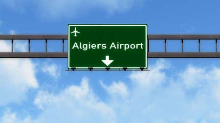 alger: Algiers Algeria Airport Highway Road Sign 3D Illustration