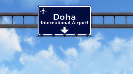 doha: Doha Quatar Airport Highway Road Sign 3D Illustration