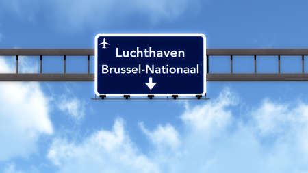 highway signs: Brussels Belgium Airport Highway Road Sign 3D Illustration