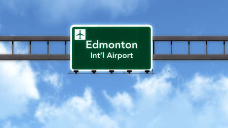 edmonton: Edmonton Canada Airport Highway Road Sign 3D Illustration